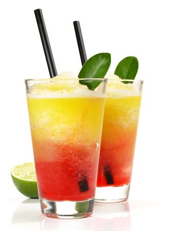 Oarange and Strawberry Margarita on white Background Foto de archivo - 122169616