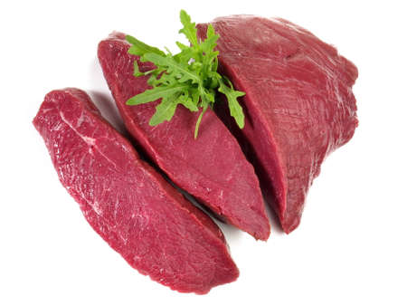 Ostrich Steaks - Wild Game Meat on white background