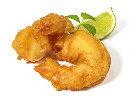 Fried Gamba Shrimp on white background