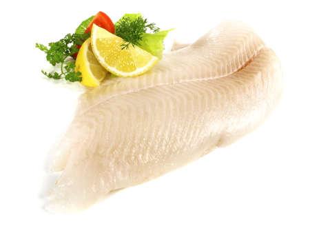 Halibut Fish Fillet on white background Foto de archivo