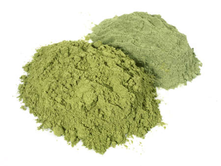 Wheat and Barley Grass Powder on white background
