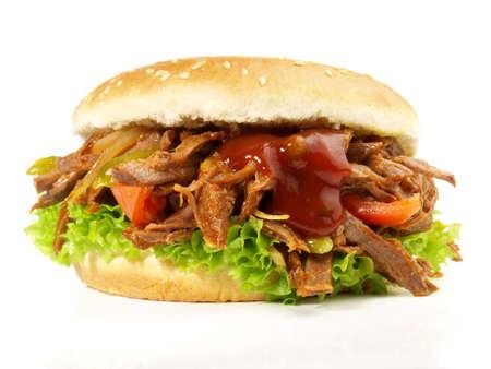 Pulled Beef Hamburger - Fast Food Isolated