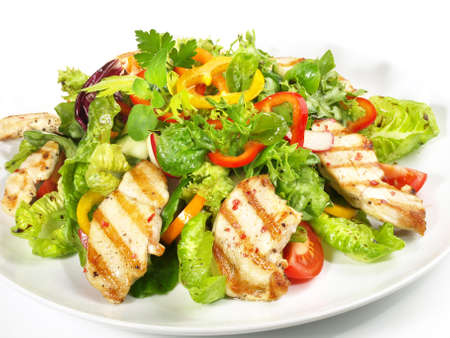 Mixed Salad with grilled Chicken - Isolated on white background