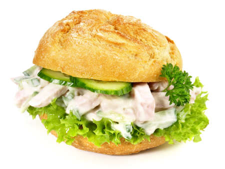 Sausage meat salad with mayonnaise in a bun isolated on white background Stockfoto