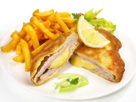 Cordon Bleu with French Fries isolated on white background