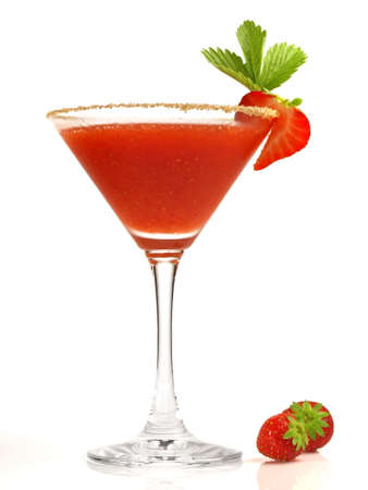 Strawberry Daiquiri Cocktail on white background - Isolated