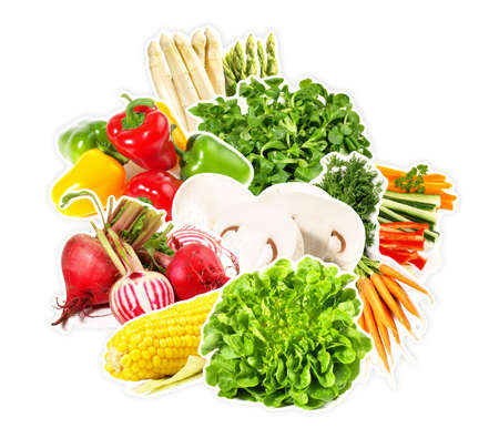 Various Vegetables with Outline on white Background - Isolated Stock Photo