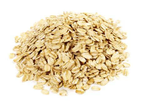 Crunchy oat flakes on white background