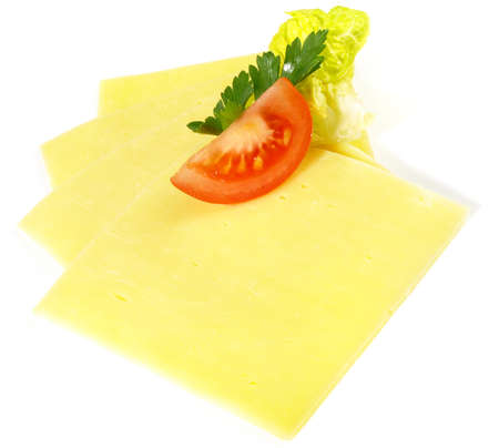 Cheese Slices on white background - Isolated