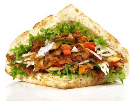 Isolated kebab sandwich on white background