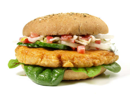 Isolated falafel hamburger - fast food on white background