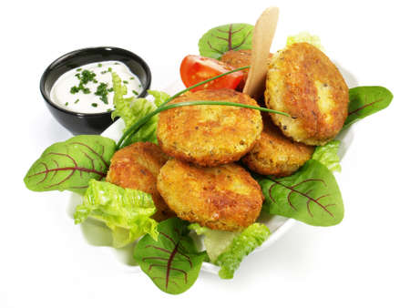 Isolated falafel snack - fast food on white background