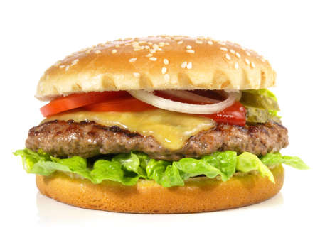 Isolated Grilled Cheeseburger on White