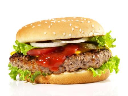 Isolated big size hamburger - fast food on white background