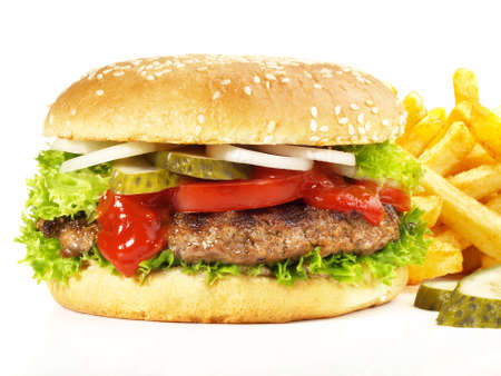 Isolated Big Size Hamburger with French Fries - Fast Food