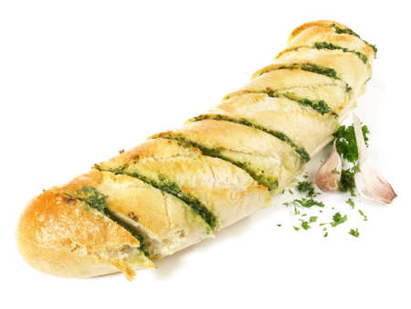 Isolated Garlic Bread - Fast Food on white background Фото со стока