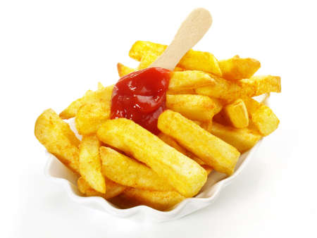 Isolated French Fries with Ketchup - Fast Food on white background Foto de archivo
