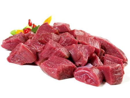 Raw Deer Ragout - Wild Game Meat Isolated on White Background