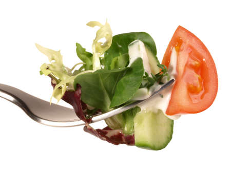 Mixed Salad on a Fork Isolated 版權商用圖片