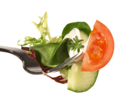 Mixed Salad on a Fork Isolated 版權商用圖片 - 168232566