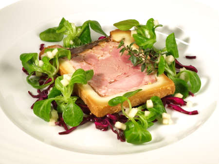 Wild Game Meat Terrine with Salad Isolated