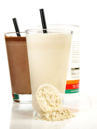 Protein Milkshakes Isolated on White Background