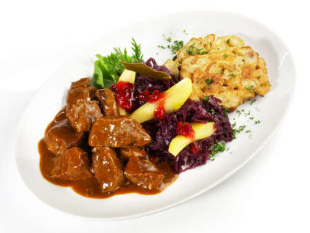 Deer Ragout with red Cabbage and Cranberries Isolated