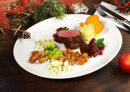 Roe Deer with Vegetables on Cranberry Sauce for Christmas