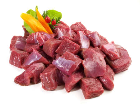 Roe Deer Ragout - Wild Game Meat Isolated on White Background 版權商用圖片