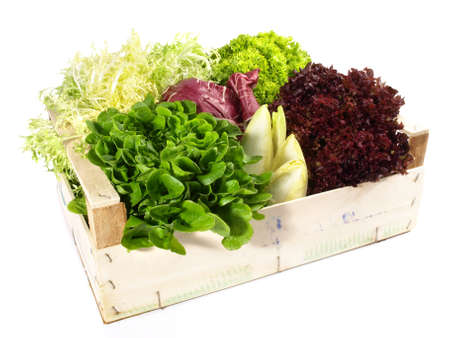 Mixed salads in a box isolated on white background 版權商用圖片
