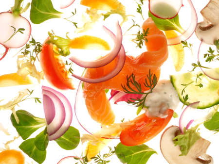 Mixed Salads with Salmon on a lighting white background Isolated 版權商用圖片 - 168232620