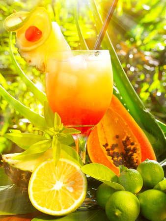 Tequila Sunrise Cocktail on tropical Standard-Bild
