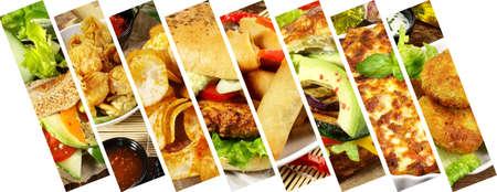 Various vegan food. Meal Banner with Falafel, Tofu Burger, Chips, Lasagne, Spring Rolls and more. Standard-Bild