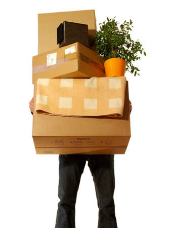 Moving Concept - Man holding Boxes Isolated