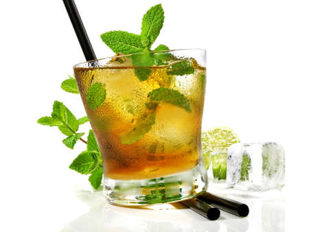 Mint whiskey cocktail isolated on white
