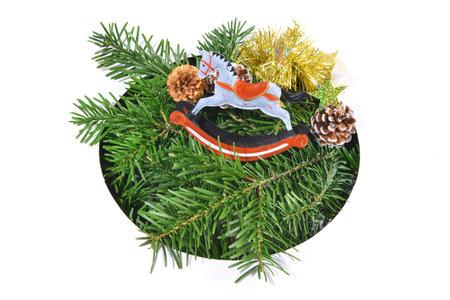 Christmas fir branches through round white 版權商用圖片