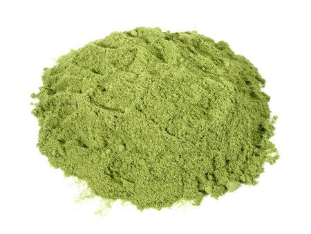 Wheatgrass Powder isolated on white 版權商用圖片
