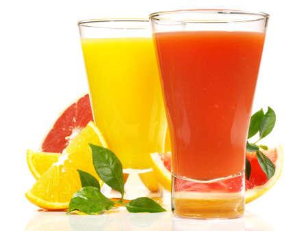 Orange and Grapefruit Juice Isolated on White