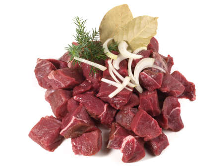 Wild Boar Ragout - Wild Game Meat Isolated on White