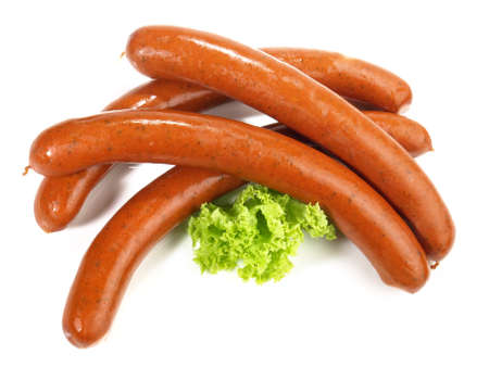 Smoked Venison Sausages Isolated on White