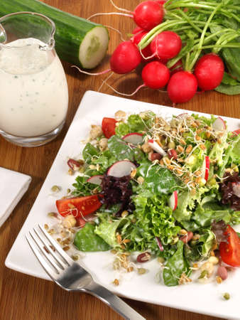 Mixed salad with sprouts and yogurt dressing