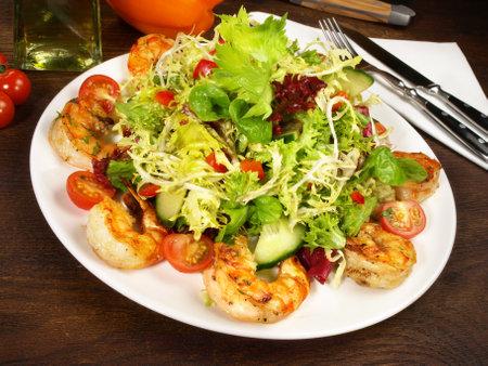 Mixed salad with tiger prawns