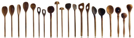 Kitchenware - Old wooden kitchen spoons isolated on a white 版權商用圖片