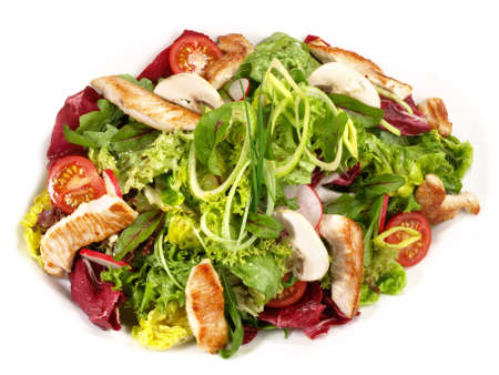 Mixed Salad with grilled Turkey Isolated