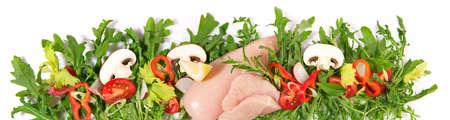 Raw Chicken Breast - Fresh Rocket Salad Lettuce Panorama