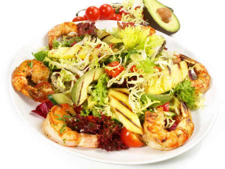 Mixed Salad with grilled Tiger Prawns, Avocado and Mango 版權商用圖片
