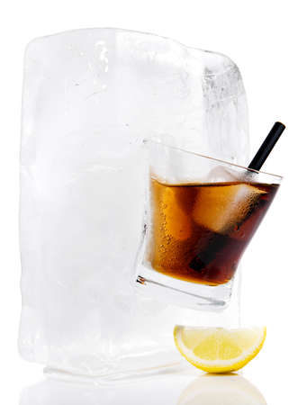 Cola in a Glass Ice Cube - Ice Melting