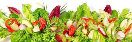 Mixed Salad with Avocado - Fresh Lettuce Panorama isolated on white 版權商用圖片