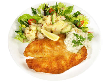 Fried Fish with Potato Salad Isolated on White Background
