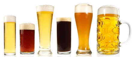 Different Beer Sorts on white Background - Isolated.